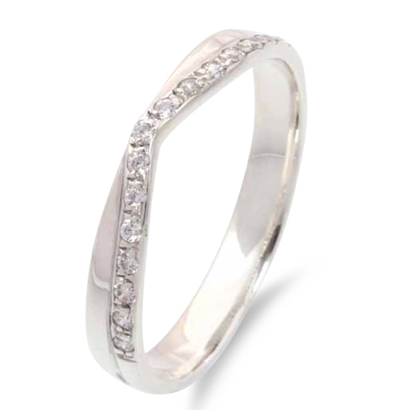 624 - Straight back edge with diamond pavé set V shape.