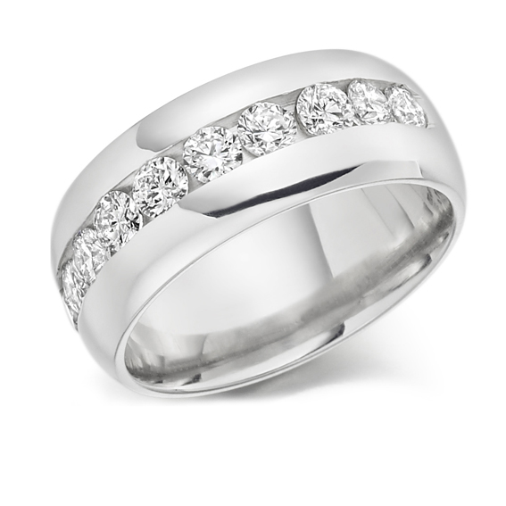 316 - Half eternity set with 1ct round diamonds.