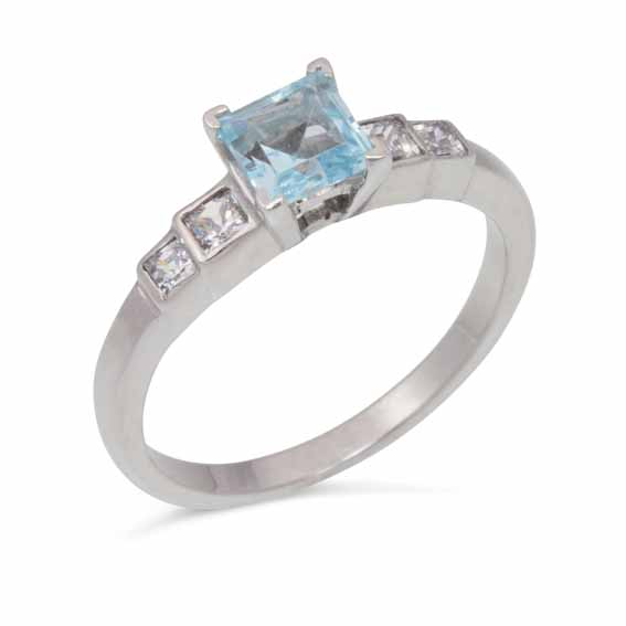 ER117 Princess cut diamond set shoulders with central blue topaz