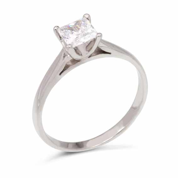 ER110 Princess cut diamond in a four claw setting