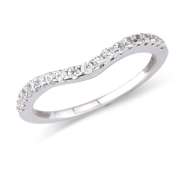 629 - Narrow shaped grain set half eternity ring