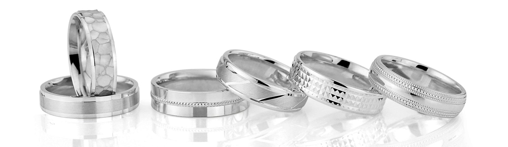cooljoolz fingerprint wedding rings, diamond cut pattern, laser