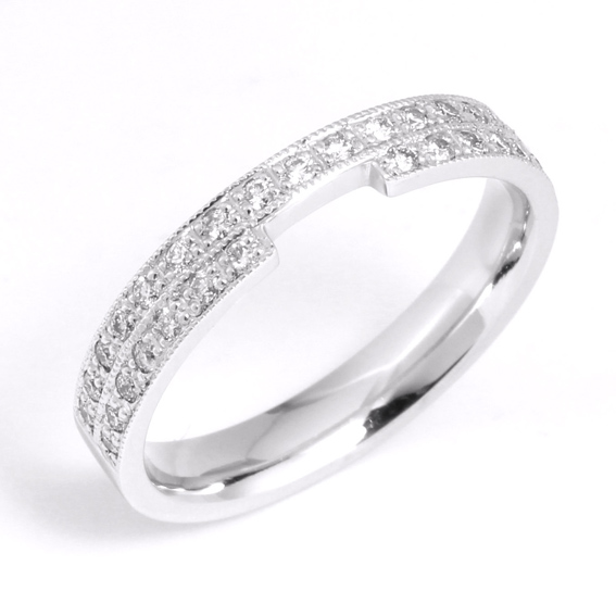 631 Shaped wedding ring with two rows of diamonds
