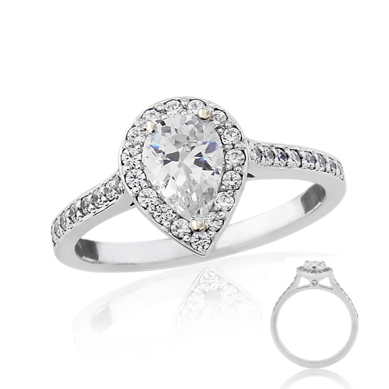 ERDCL20 Pear shaped halo engagement ring