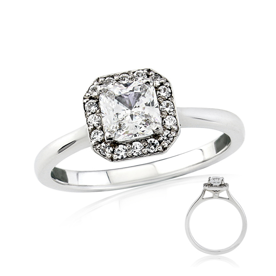 ERDCL13 Radiant cut halo engagement ring