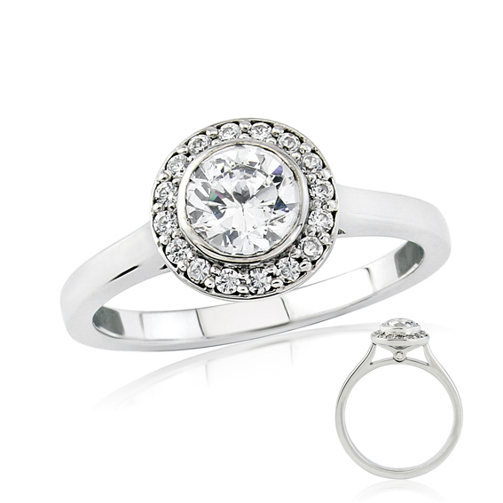ERDCL8 Bezel set round diamond halo engagement ring