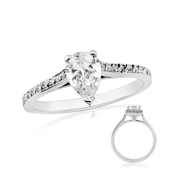 ER143 Pear shaped diamond with diamonds on the shoulders.