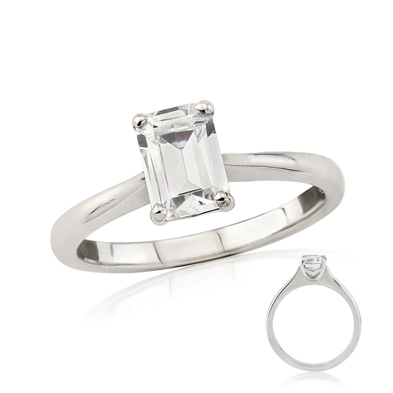 ER149 Emerald cut diamond solitaire engagement ring