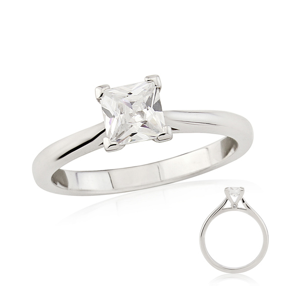 ER176PC Square princess cut solitaire with hidden diamond