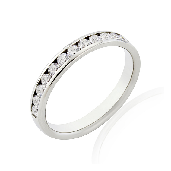 KM116 3mm half eternity ring with round channel set diamonds