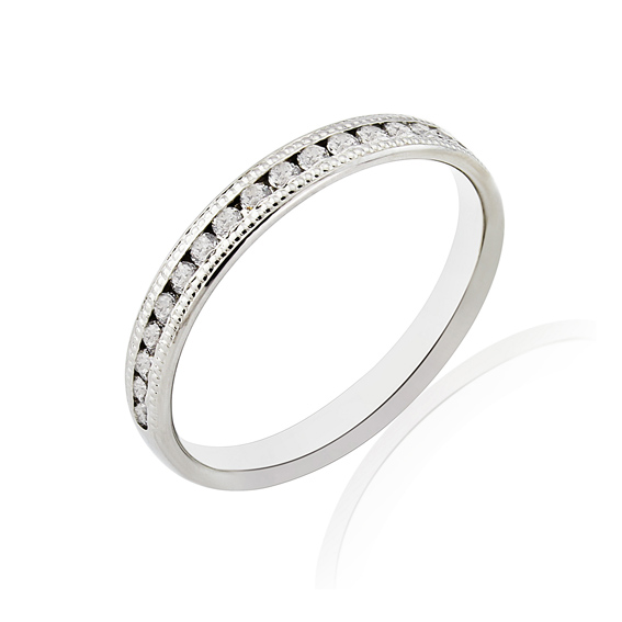 KM114 2.7mm half eternity ring with millgrain edges