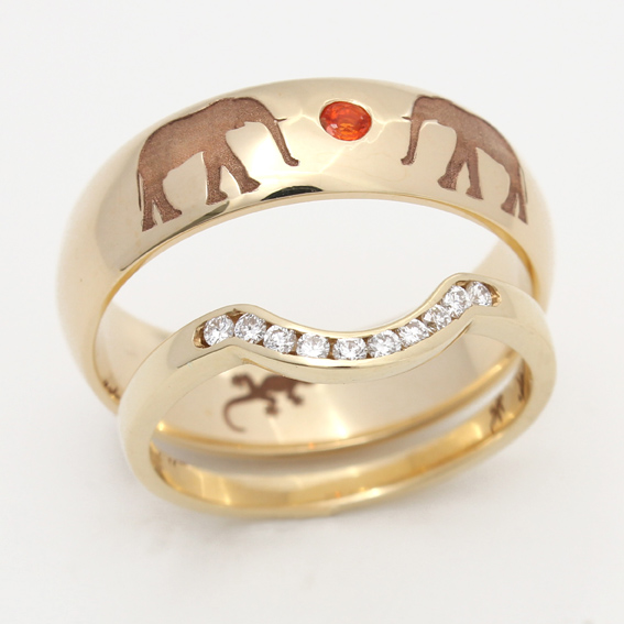 Elephant pattern wedding ring