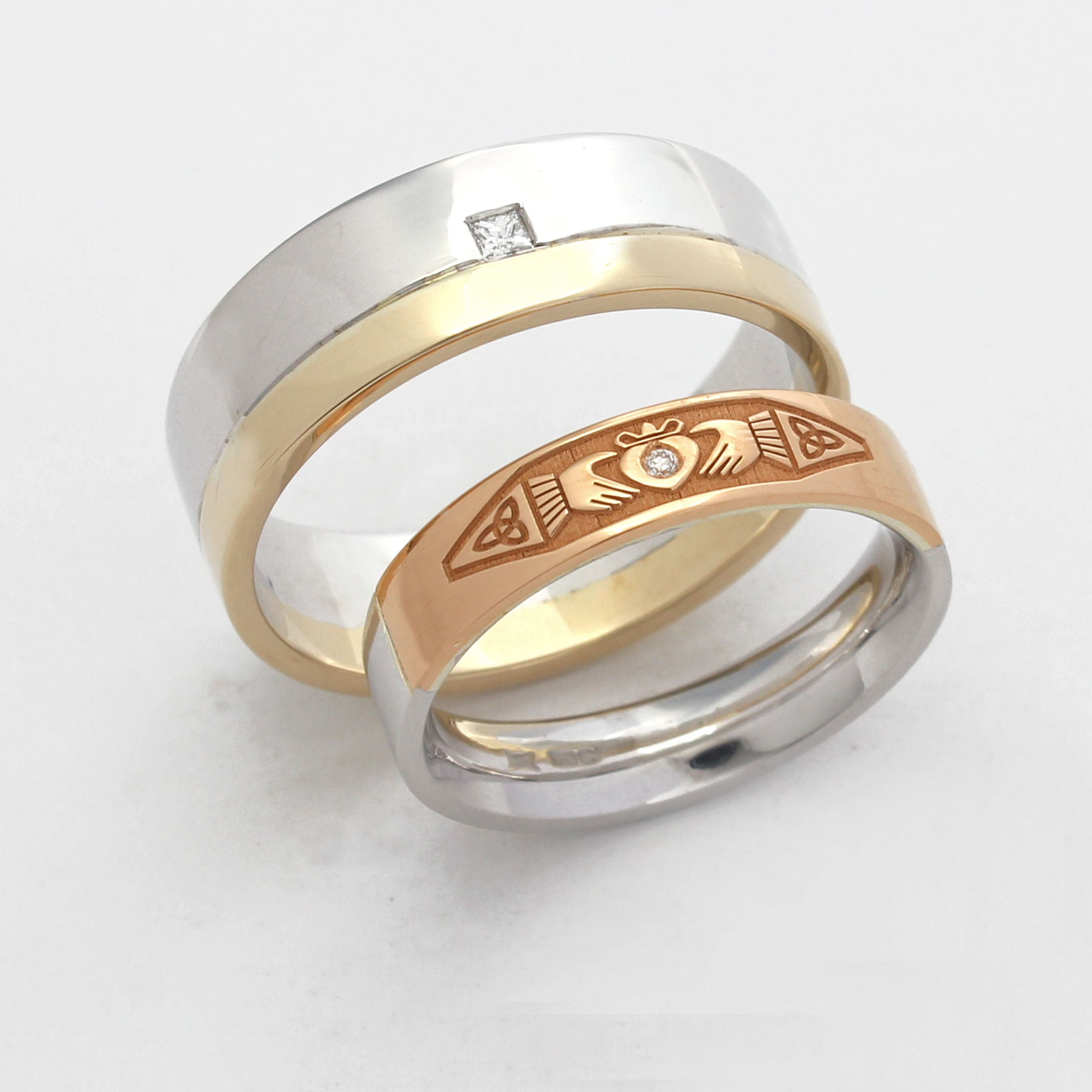 Remodelled jewellery incorporated into wedding rings
