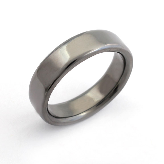 Tantalum soft court wedding ring